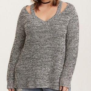 Torrid Marled Knit Split Sweater Size 2